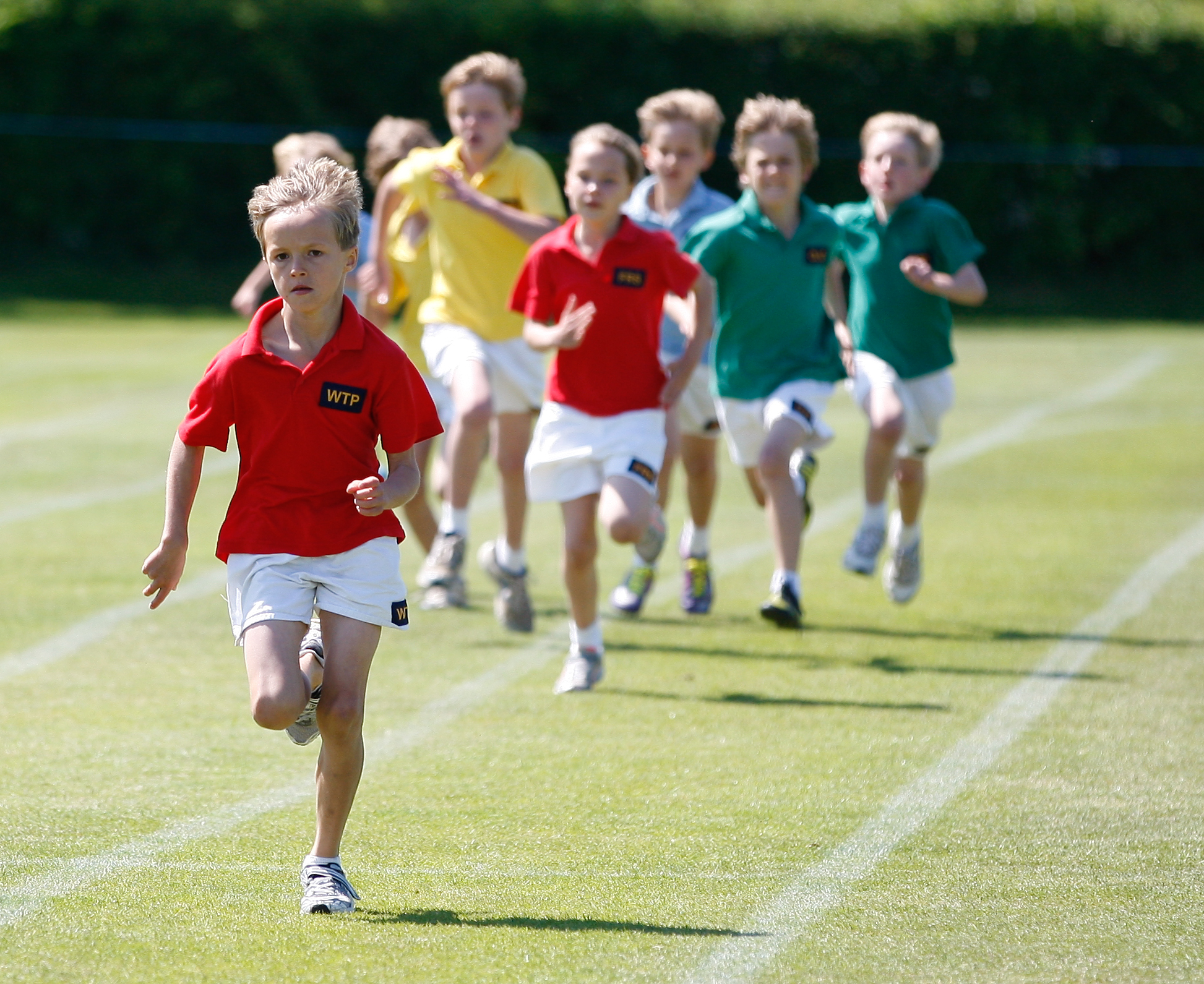 school sport day Friday 28th june in berkshire, england 300 pupils, 4 houses, 100 track events, 40 field events and tug of war as the finale prizes given out by a parent.