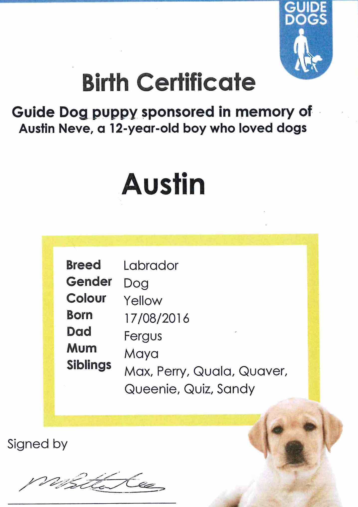 Austin Colour Birth Certificate Cranleigh Preparatory School